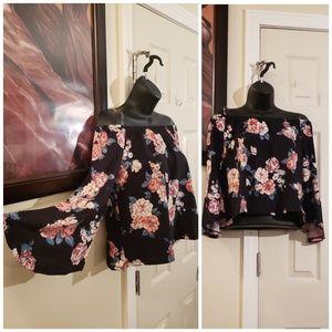 Floral Bell Sleeve Off Shoulder Top